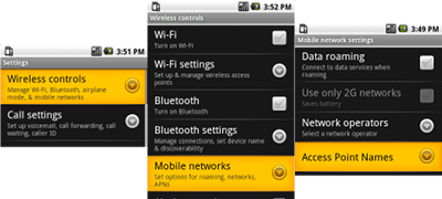 Settings, Wireless Controls, Mobile Networks, Access Point Names